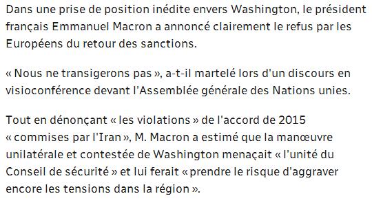 马克龙:欧洲不会向美国妥协!附马克龙联大演讲全文